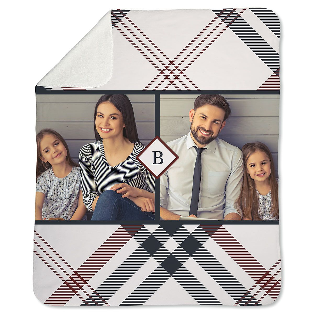 Sherpa Plaid Photo Throw