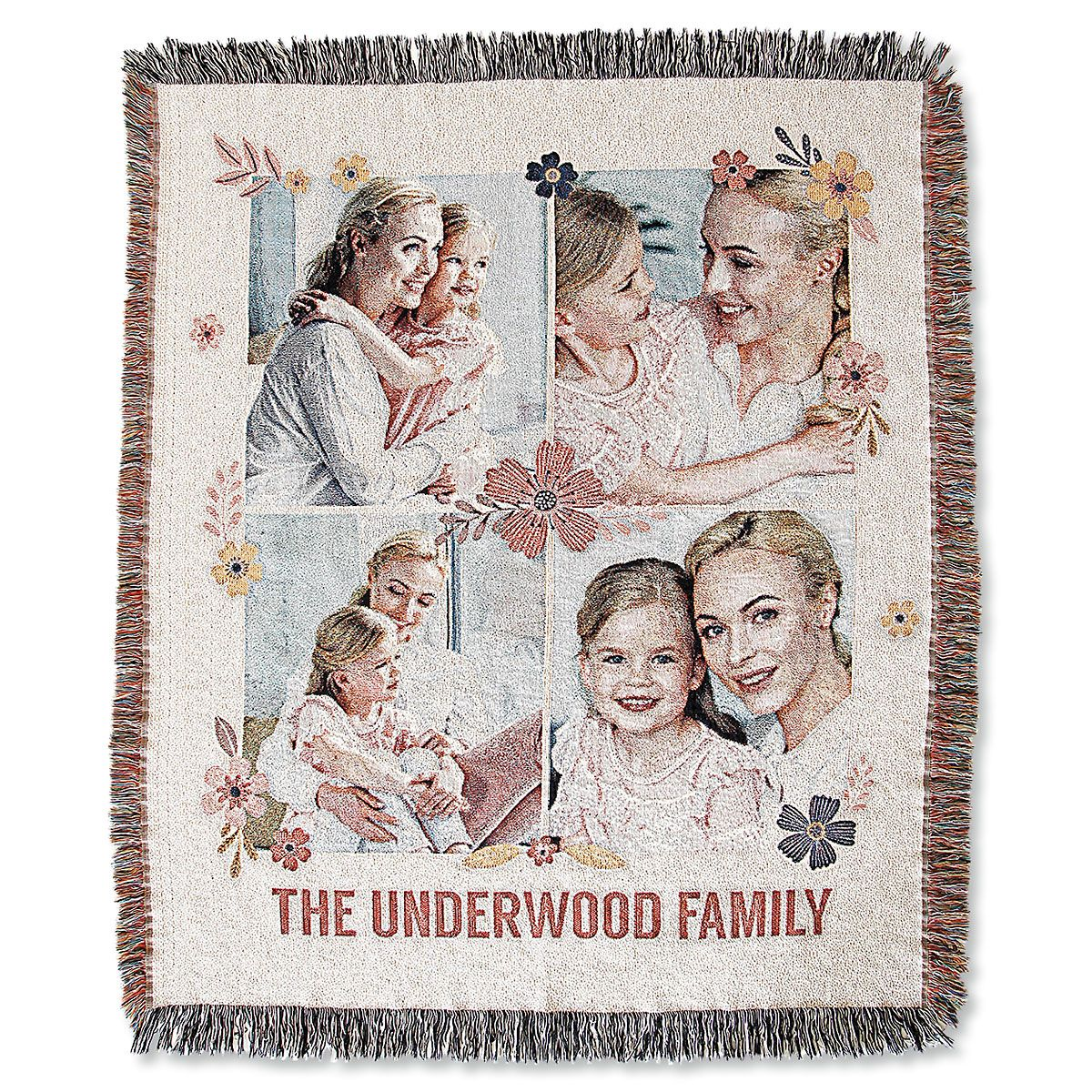 Woven Floral Photo Throw