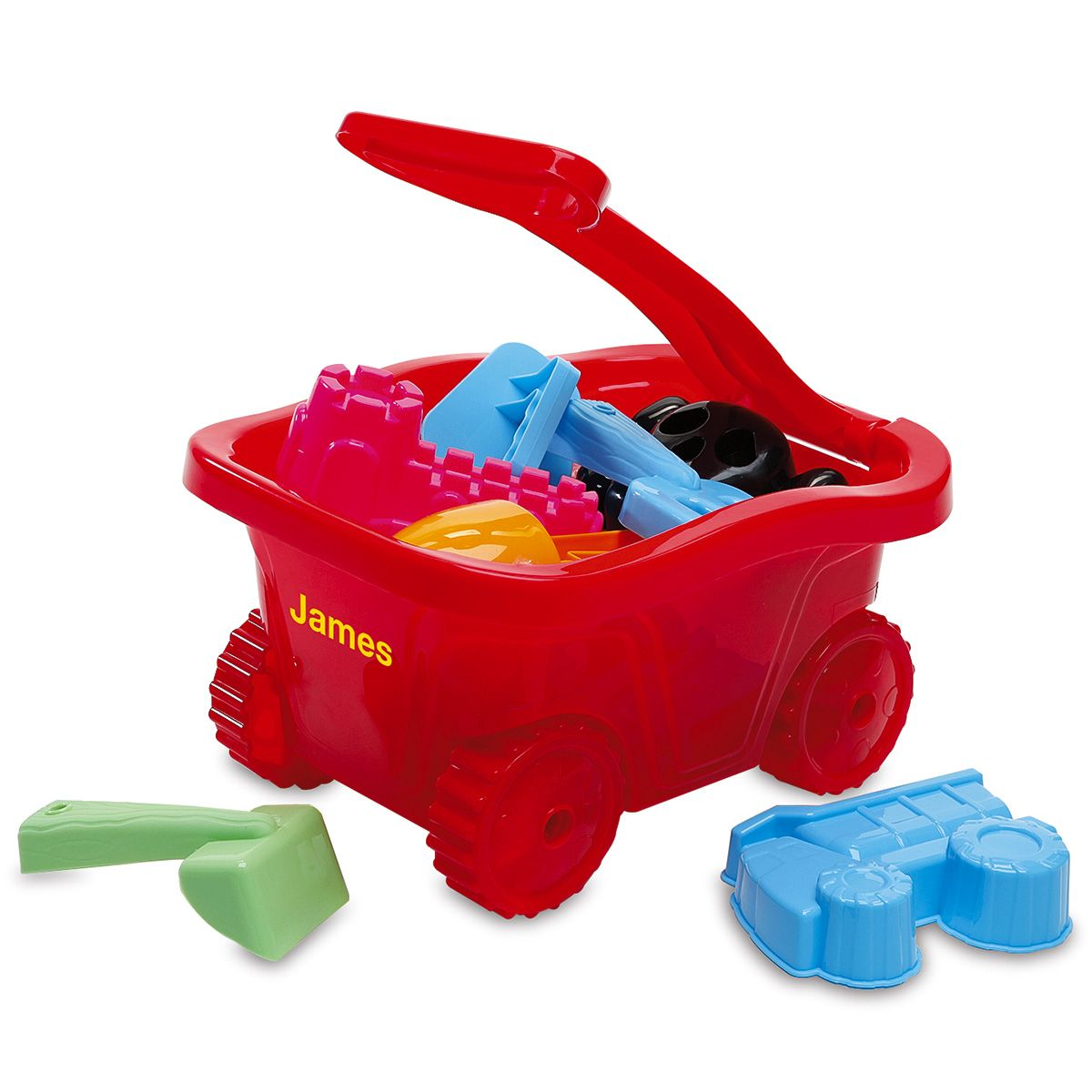 Personalized Red Plastic Wagon Set