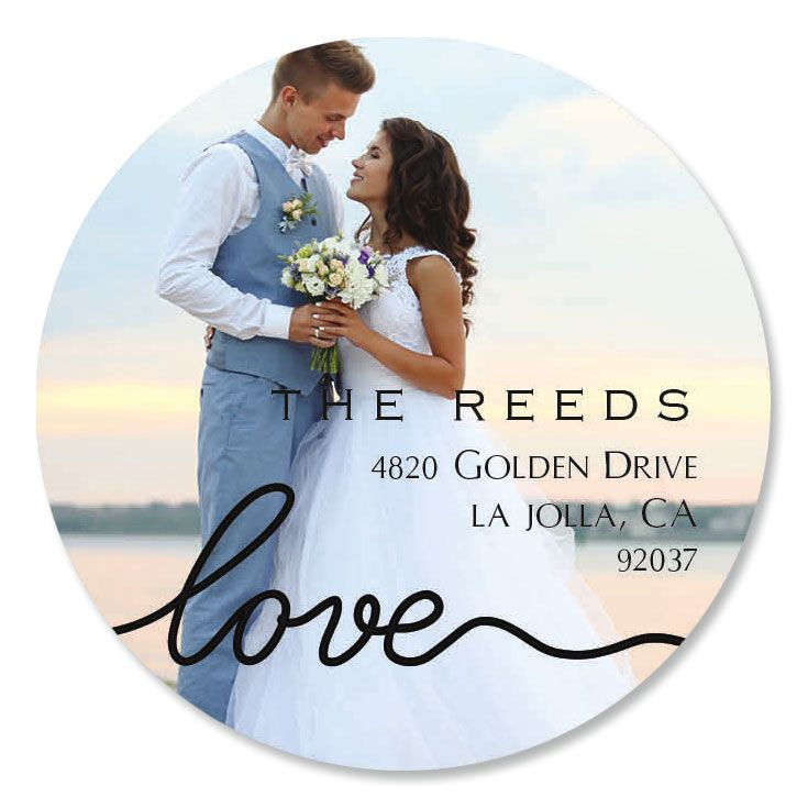 Love Round Black Caption Photo Address Label
