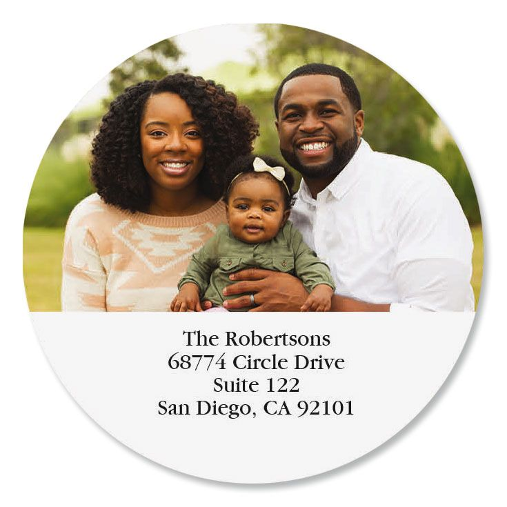Direct Round Personalized Photo Address Label