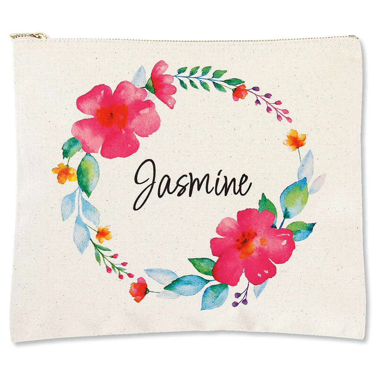 Personalized Name in Wreath Zippered Canvas Pouch