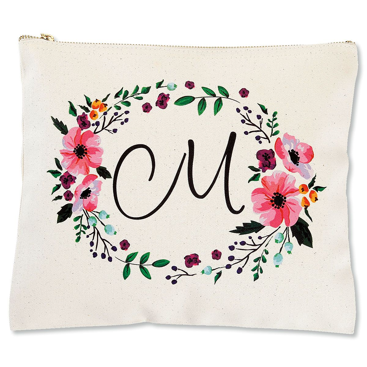 Personalized Initial in Wreath Zippered Canvas Pouch