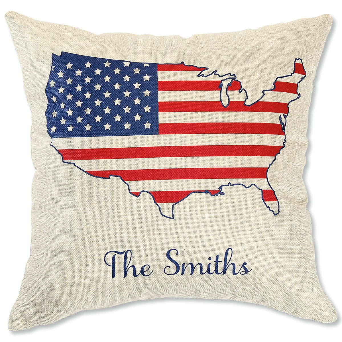 Personalized USA Natural Canvas Pillow