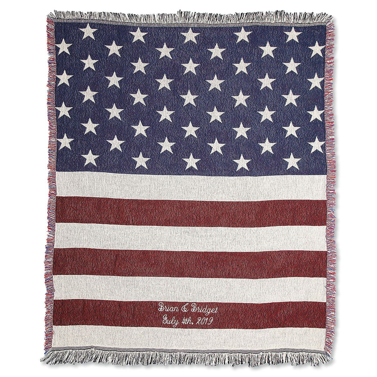 Personalized American Flag Throw