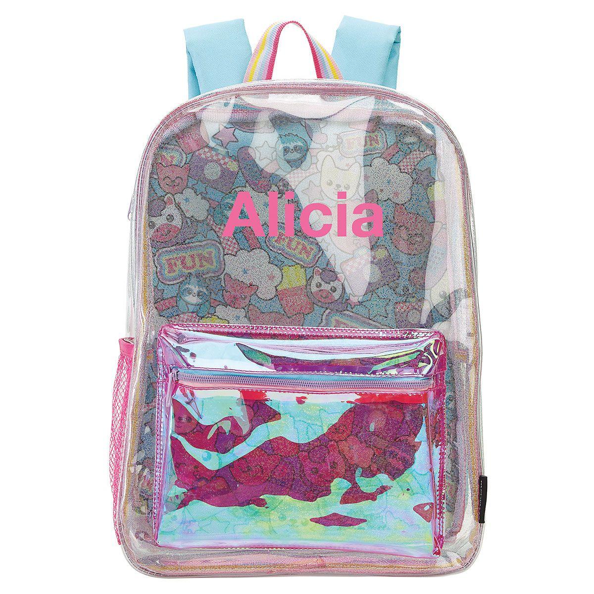 Personalized Clear Unicorn Emoji Fun Backpack