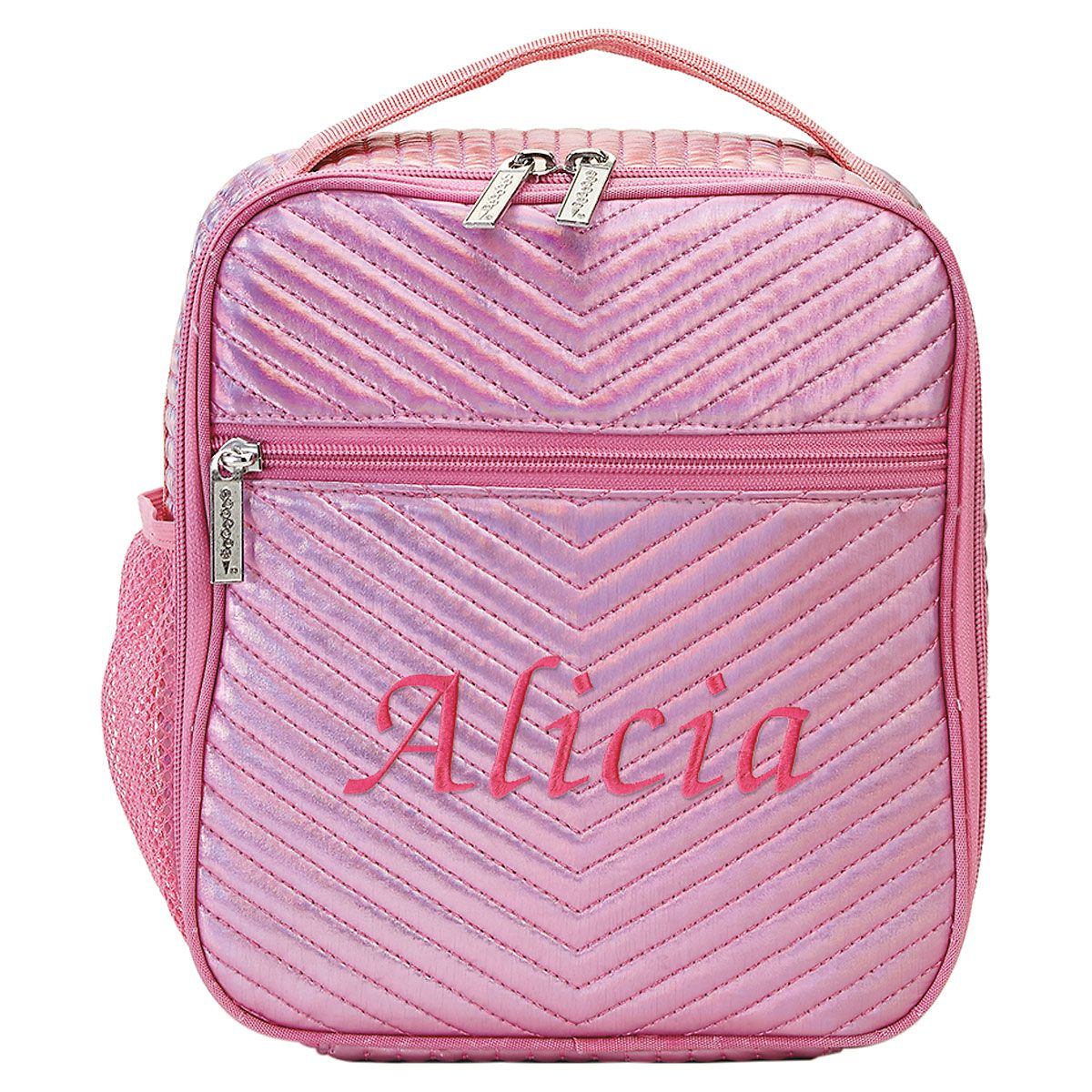 Personalized Pink Chevron Lunch Tote