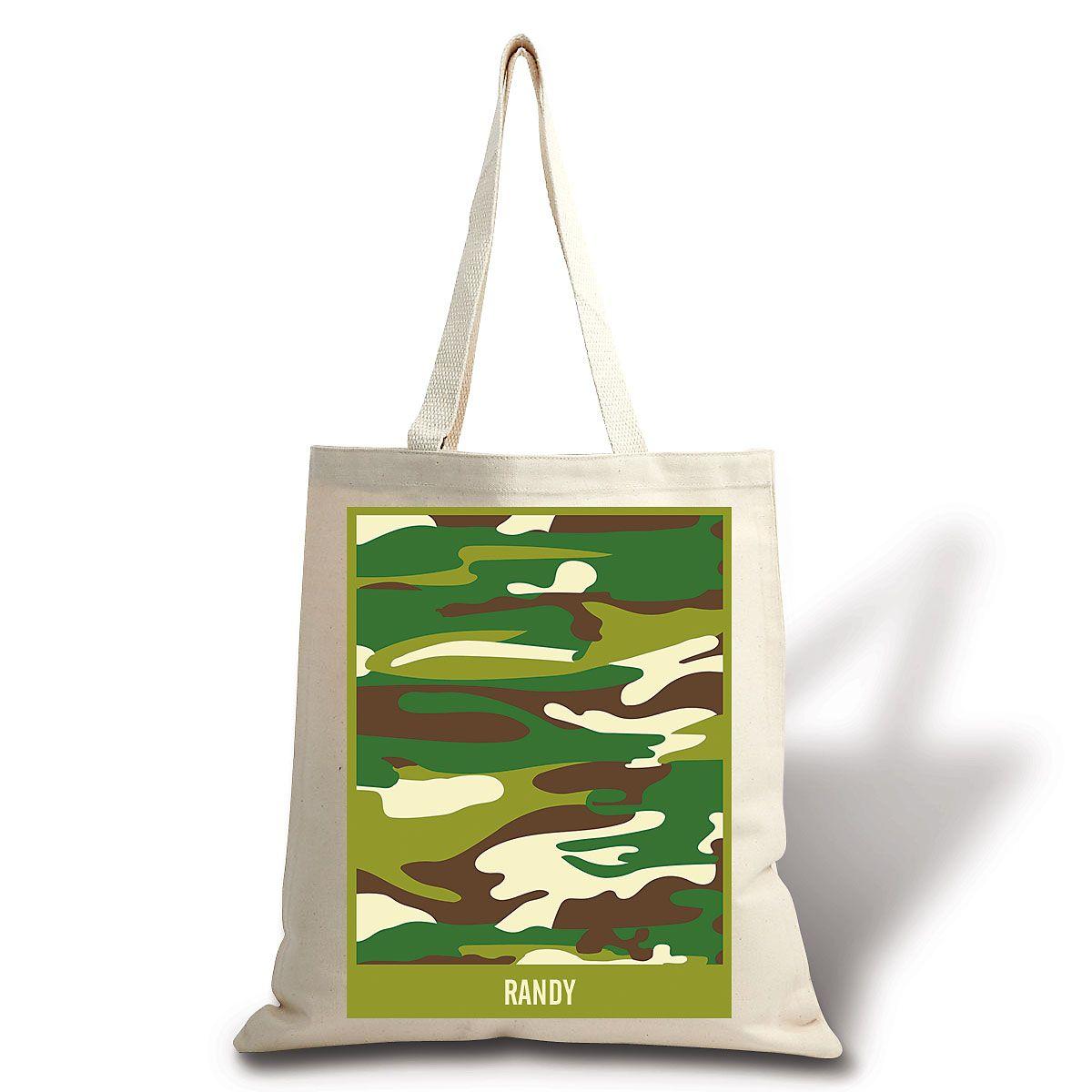 Personalized Green Camo Canvas Tote