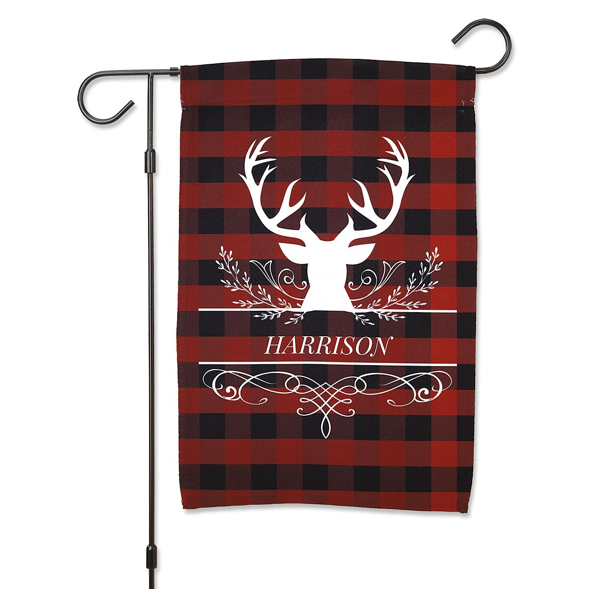 Personalized Buffalo Plaid Garden Flag