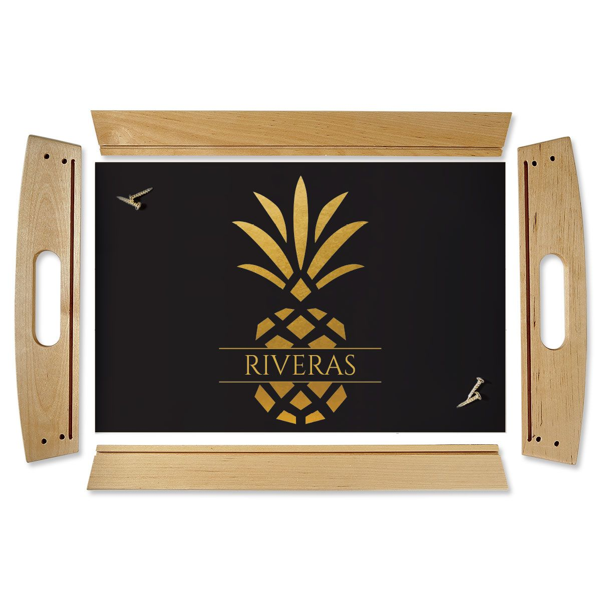 Pineapple Family Name Natural Wood Serving Tray