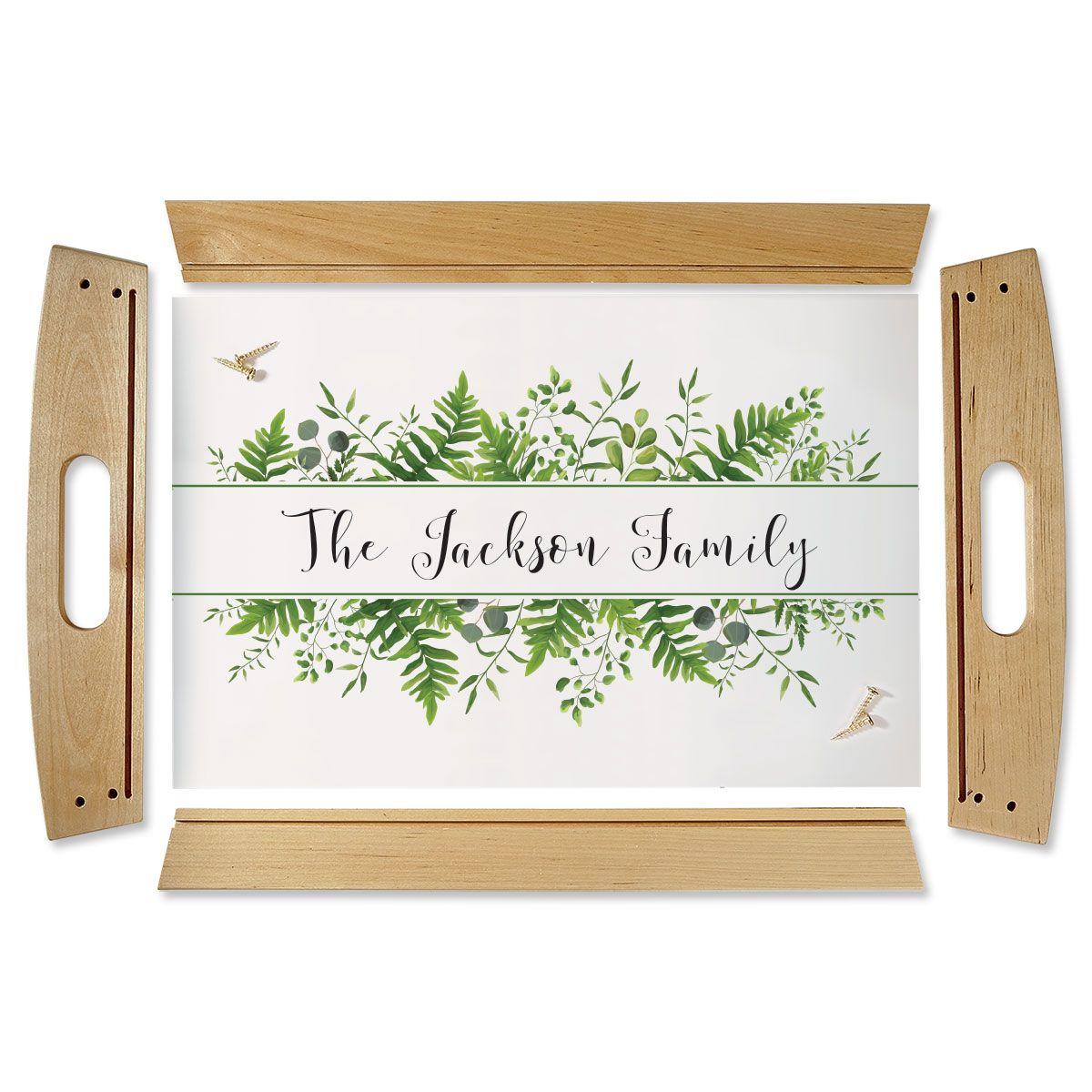 Family Name & Greenery Natural Wood Serving Tray