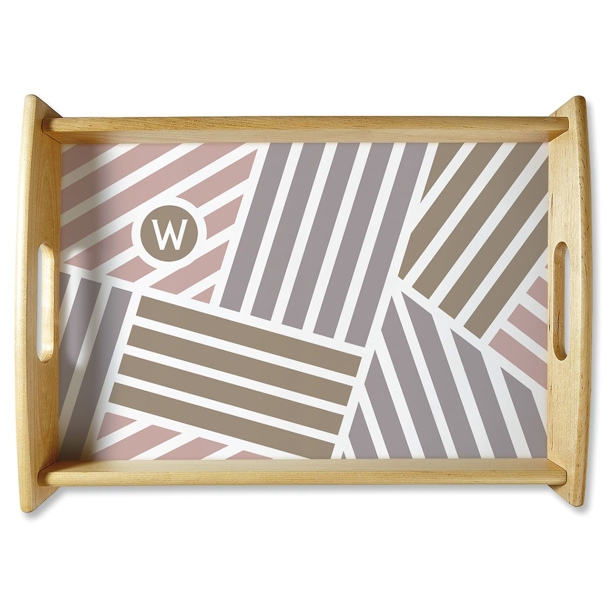 Initialed Stripe Natural Wood Serving Tray