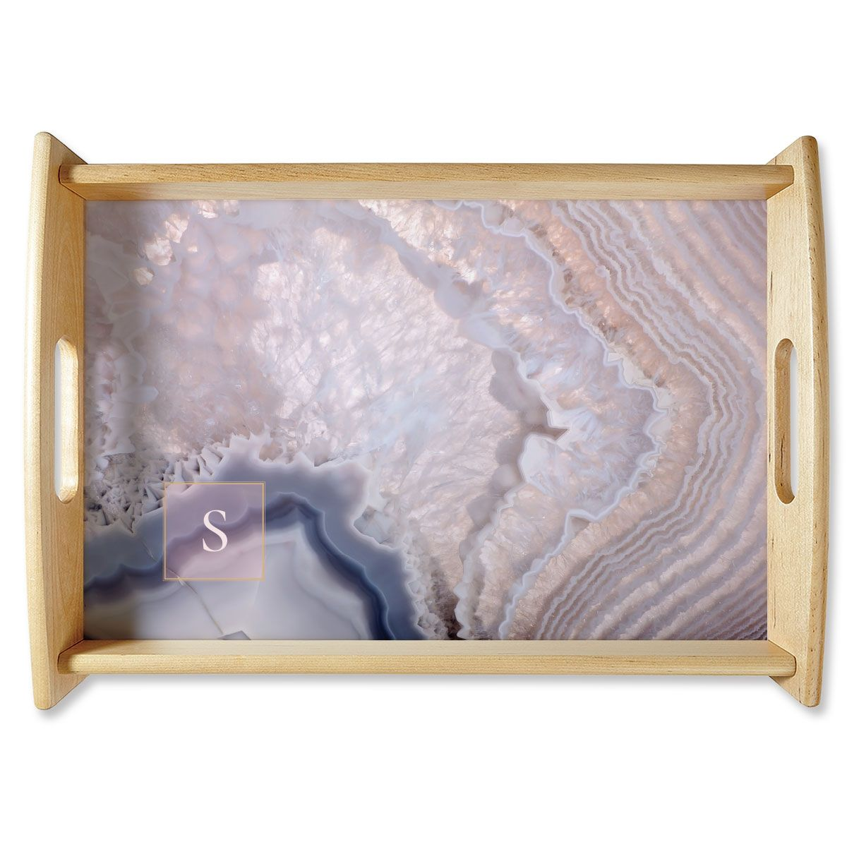 Initialed Agate Natural Wood Serving Tray