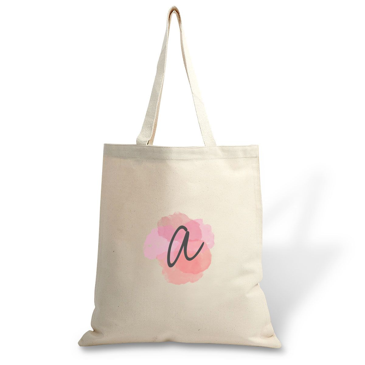 Watercolor Initial Canvas Tote