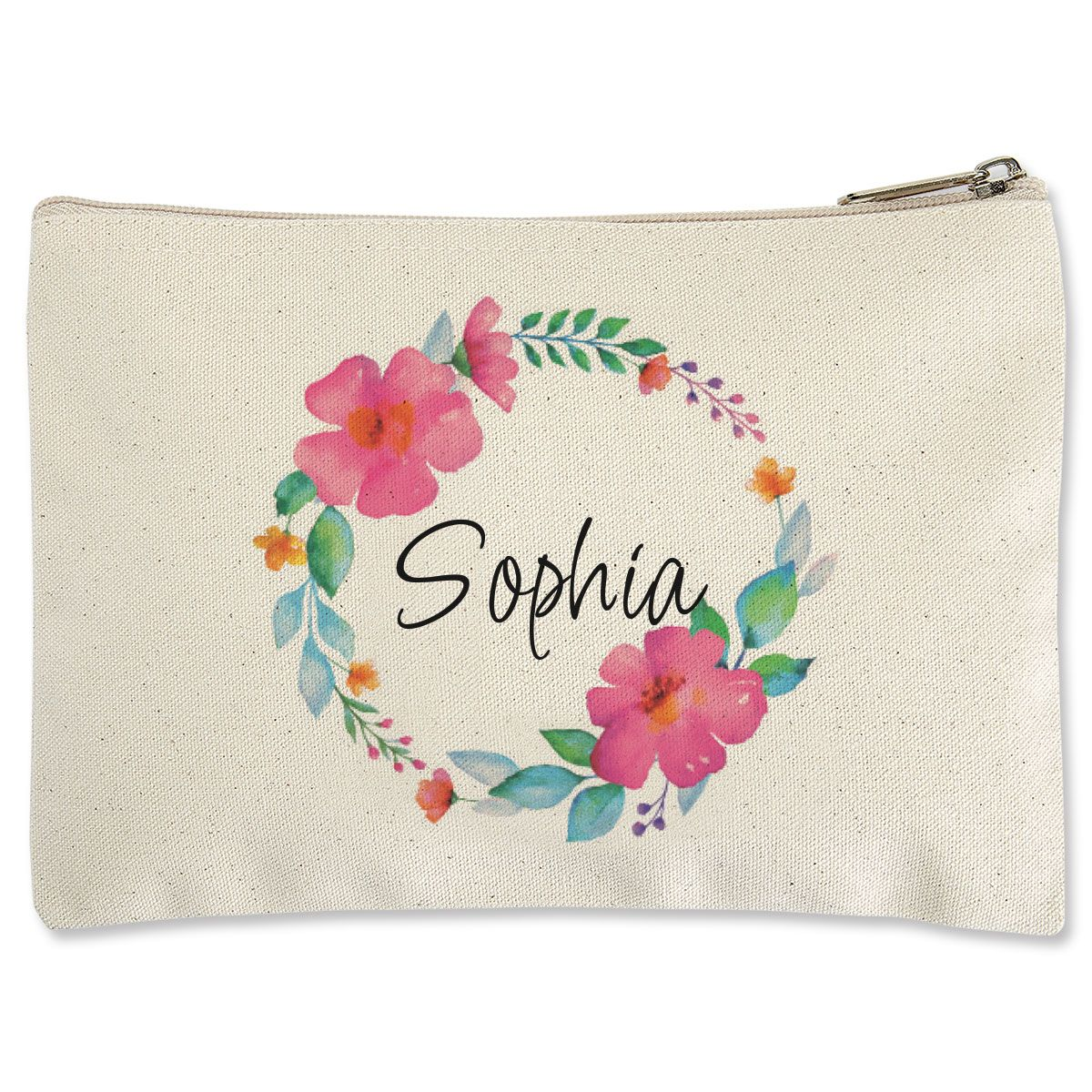 Name in Wreath Zippered Pouch