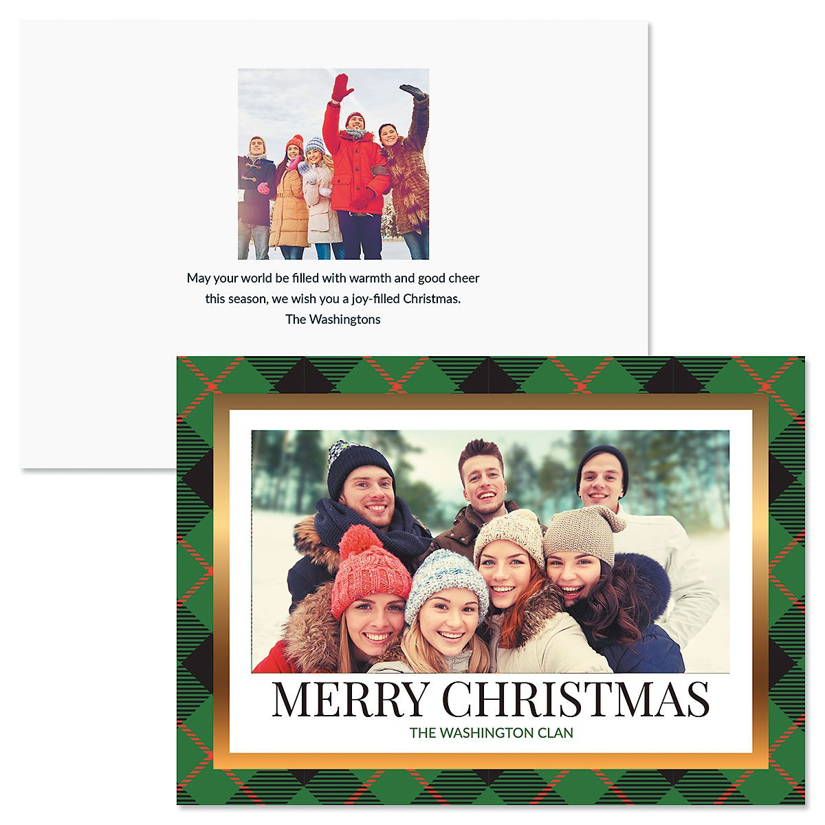 Green Buffalo Check Photo Christmas Cards