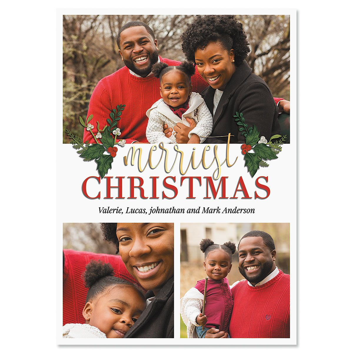 3 Greetings Photo Christmas Cards