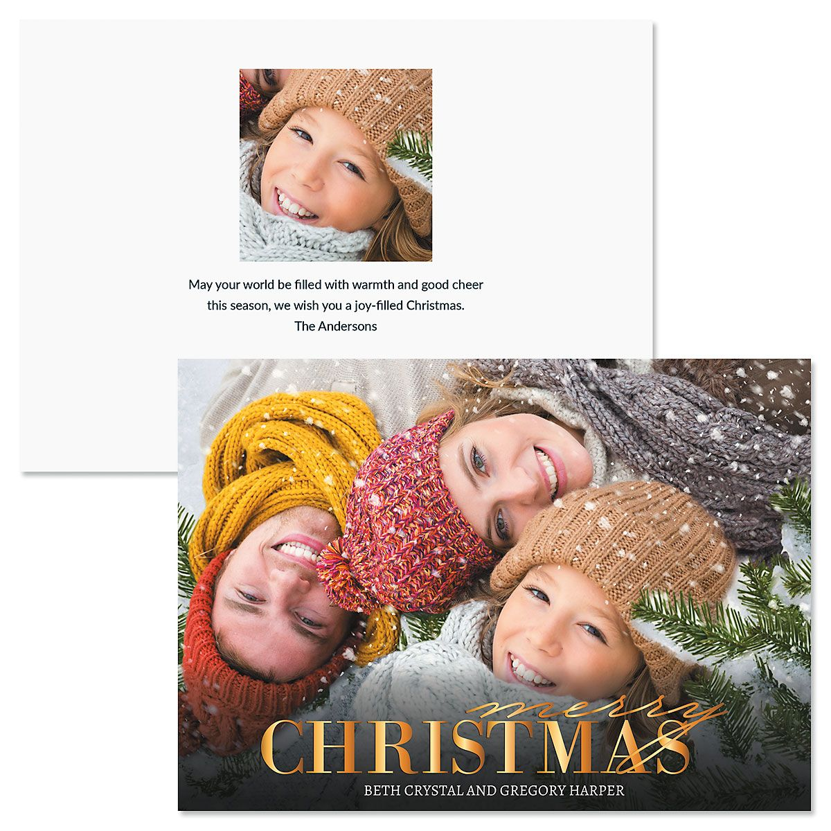 Merry Gold Photo Christmas Cards