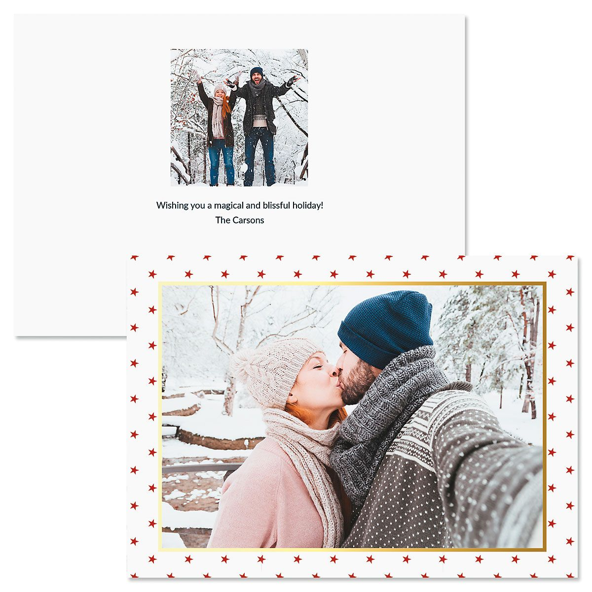 Red Stars Photo Christmas Cards