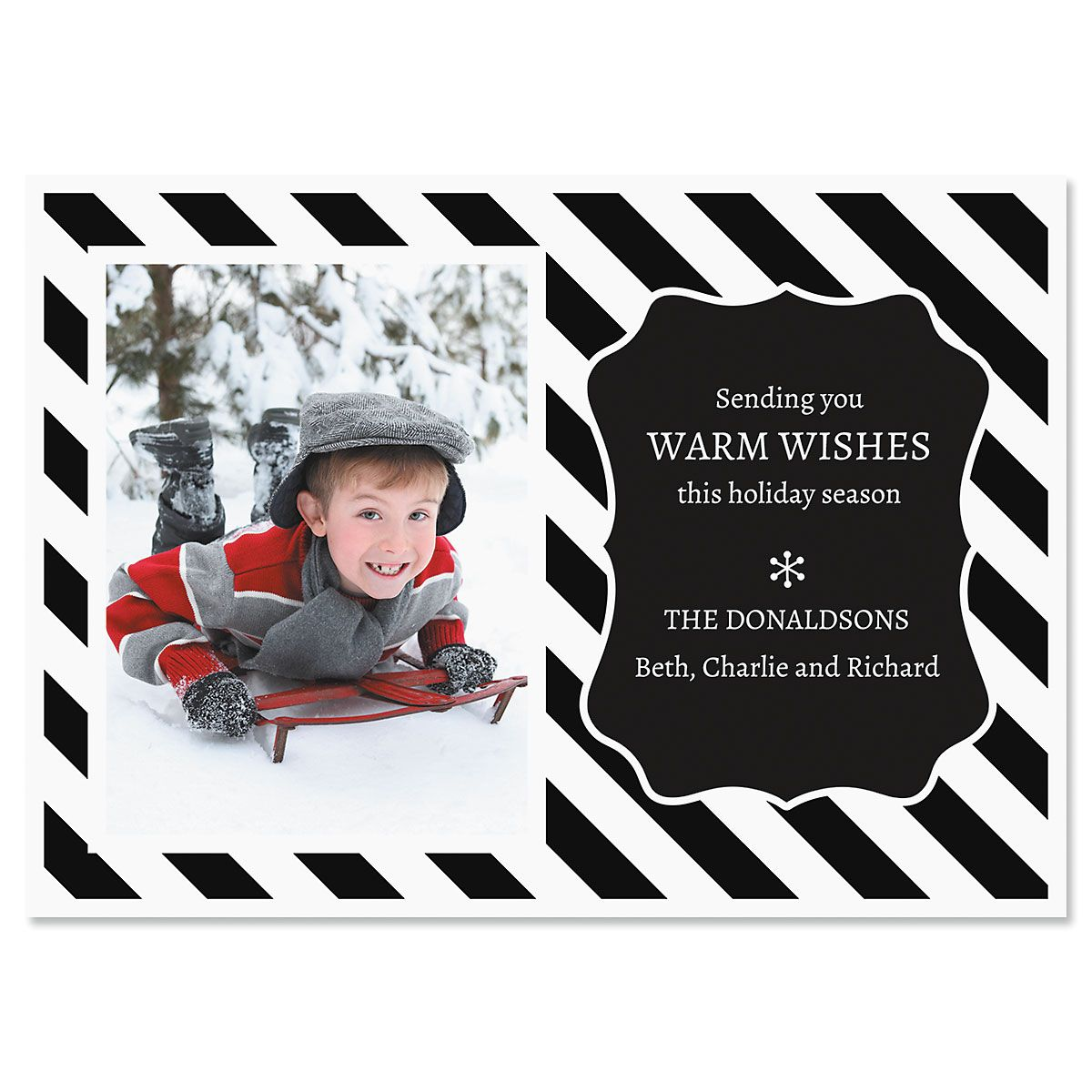 Black and White Stripe Photo Christmas Cards
