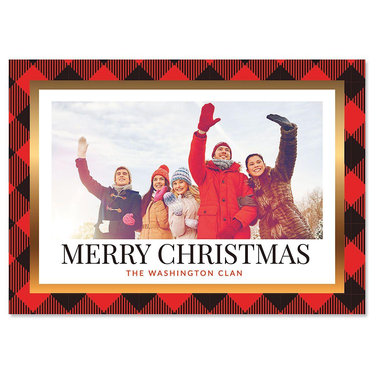 Red Buffalo Check Photo Christmas Cards