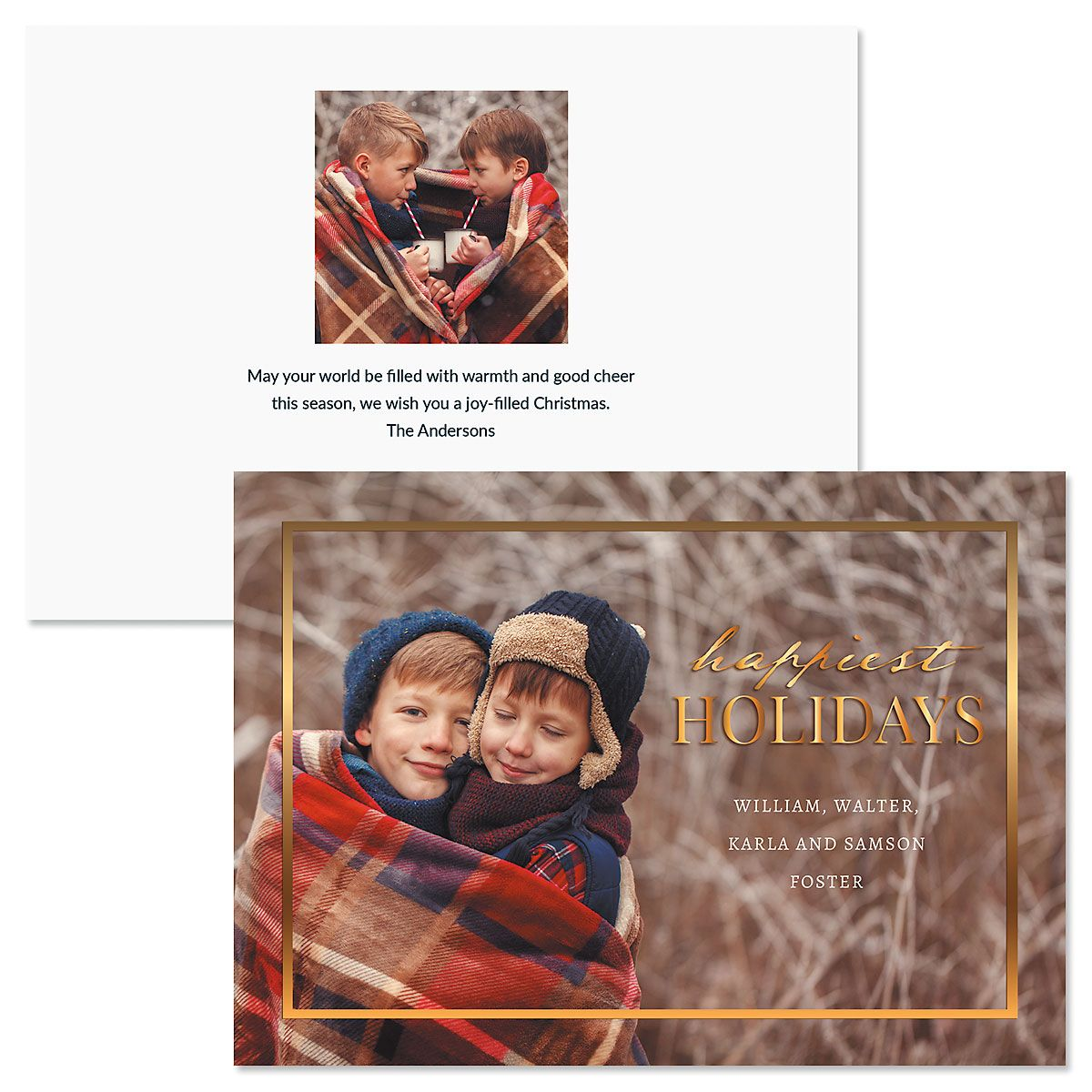 Gold Frame Horizontal Photo Christmas Cards