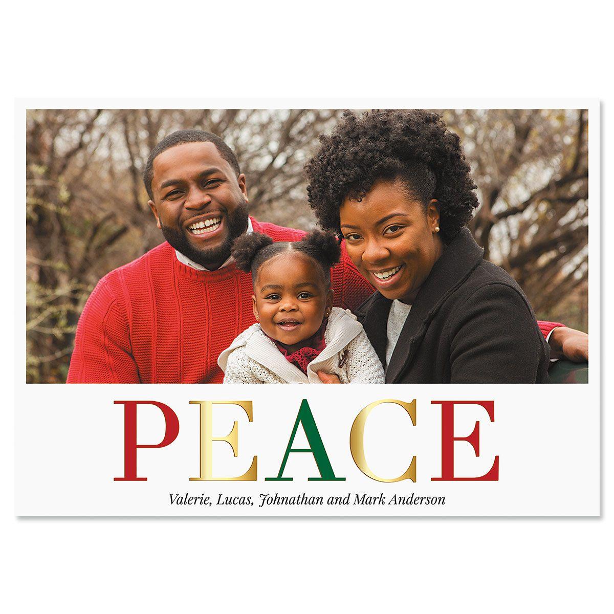 Peace Horizontal Photo Christmas Cards