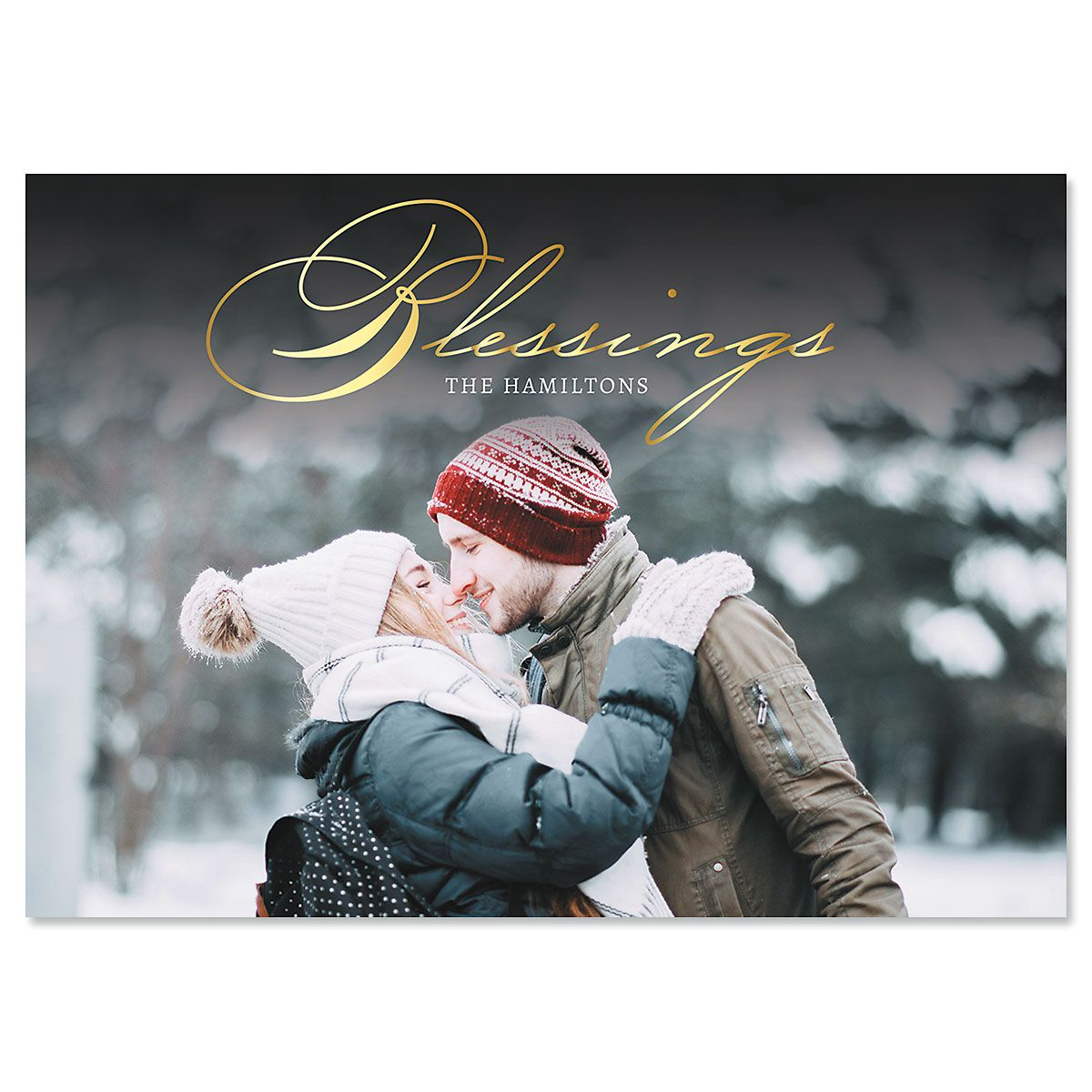 Blessings Horizontal Photo Christmas Cards