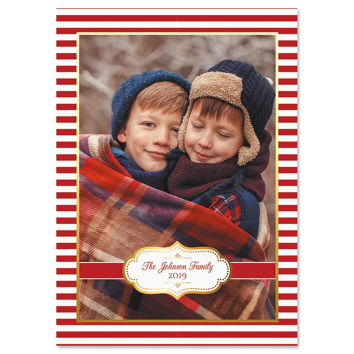 Red Stripes Photo Christmas Cards