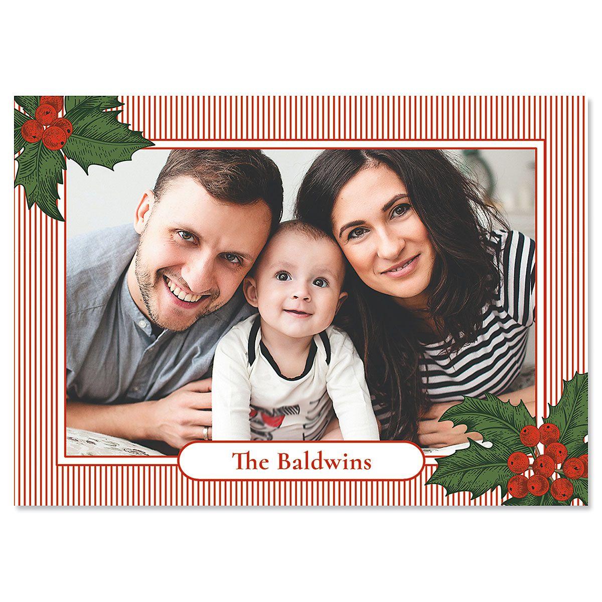 Pinstripe Photo Christmas Cards
