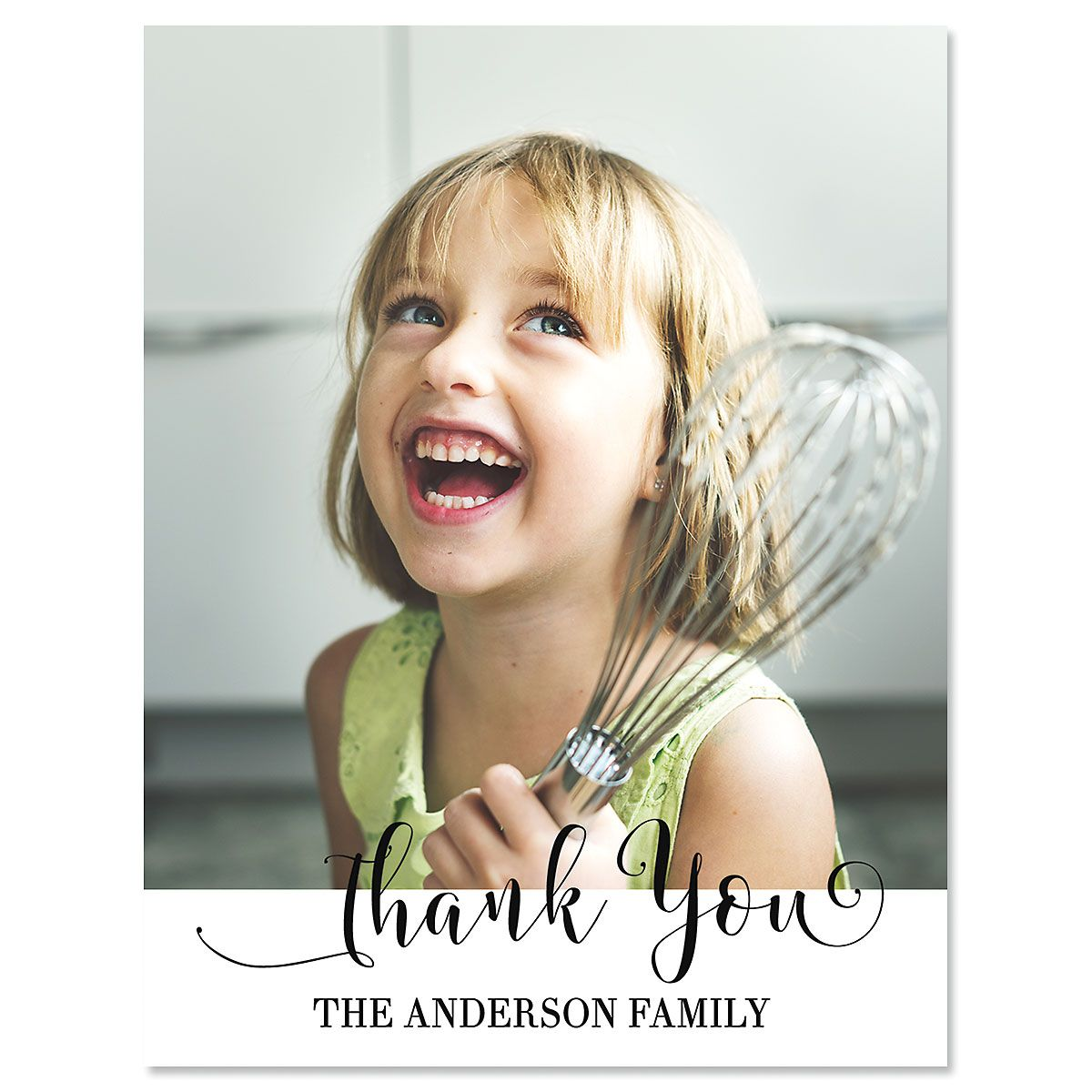 Personalized Vertical Cheerful Thank You Photo Note Cards