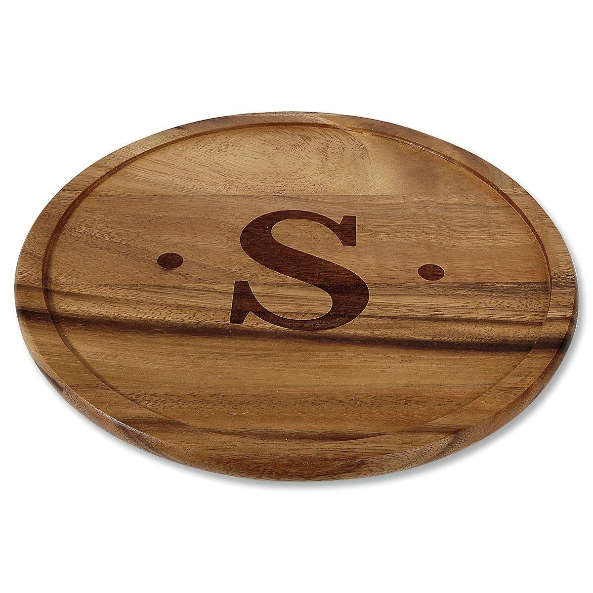 Monogram Initial with Dots Acacia Wood Lazy Susan
