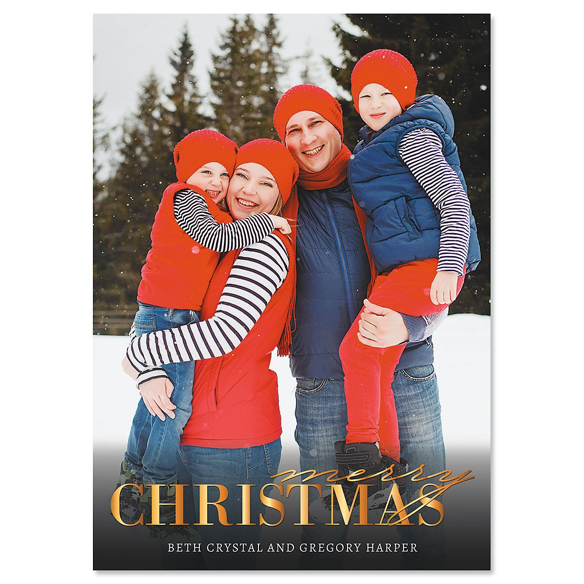 Gold Merry Photo Christmas Cards