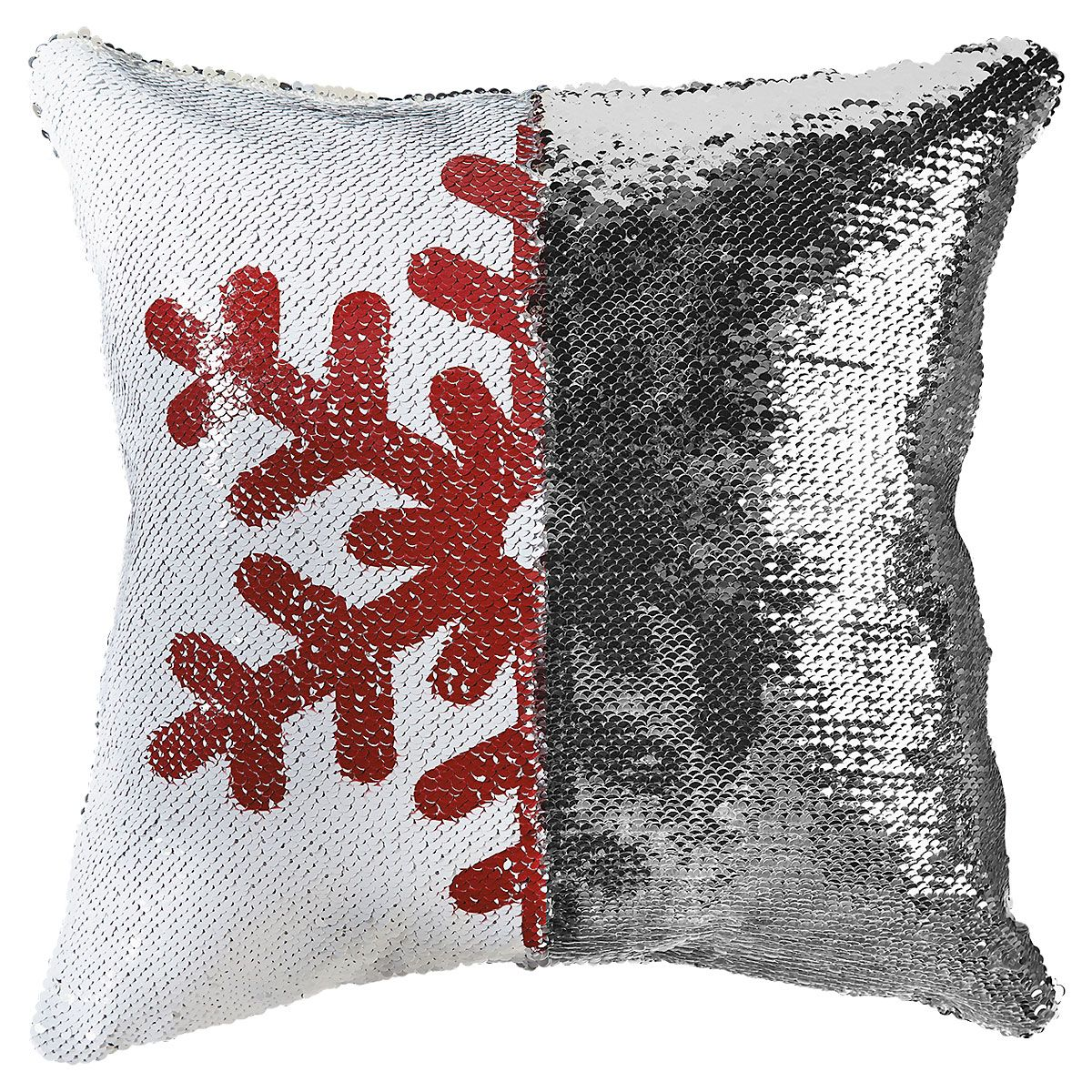 Sequined Holiday Snowflake Pillow