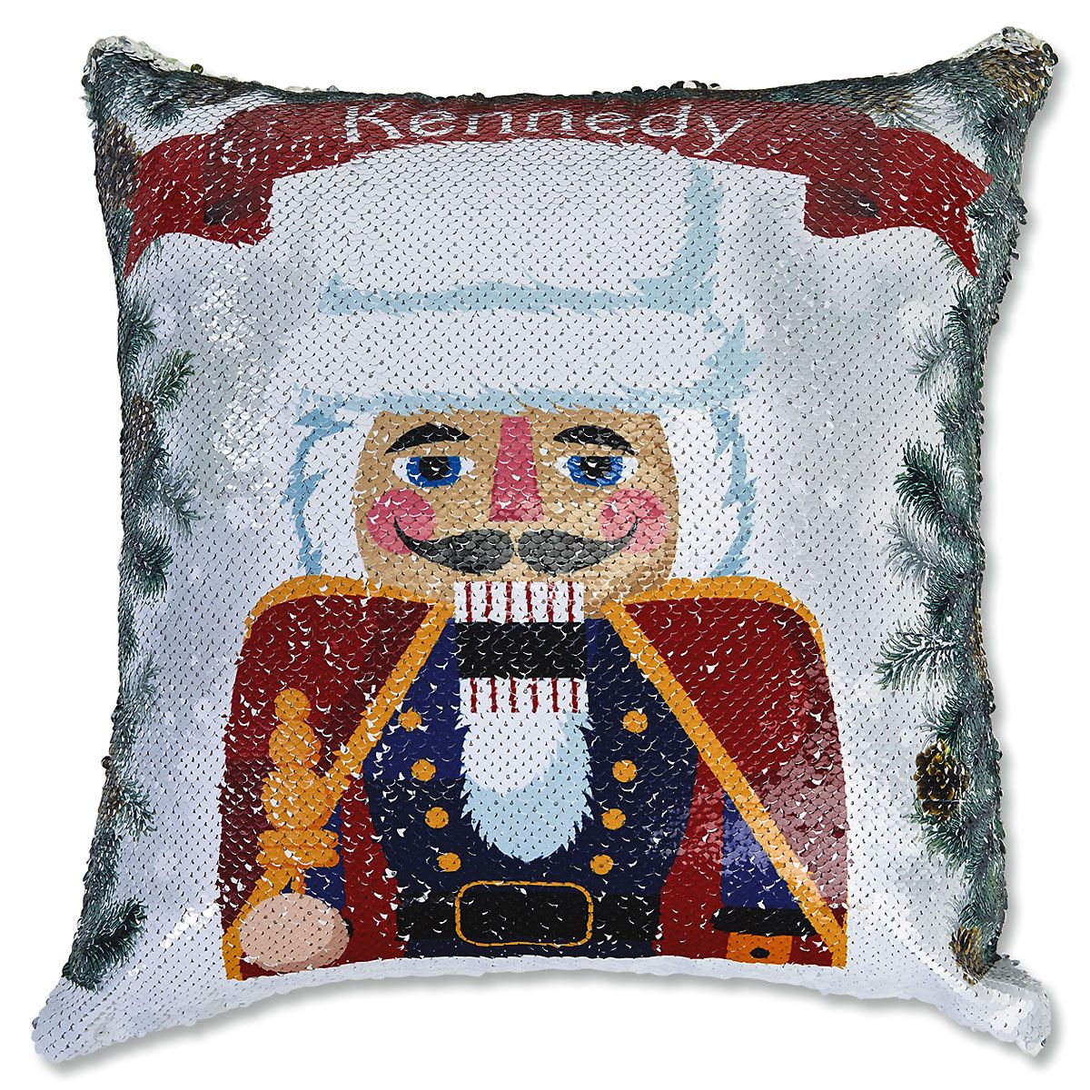 Sequined Holiday Nutcracker Pillow