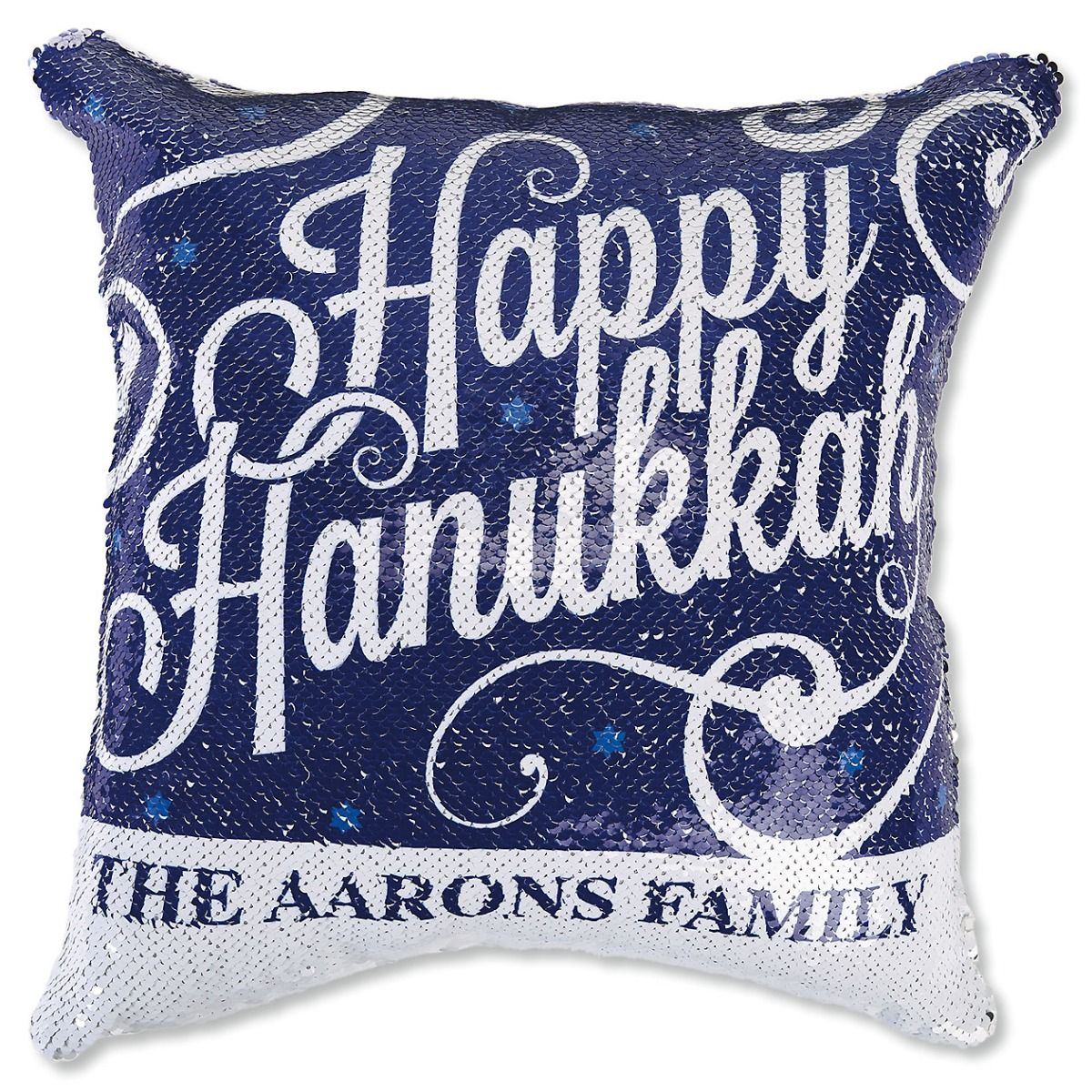 "Sequined ""Happy Hanukkah"" Pillow"