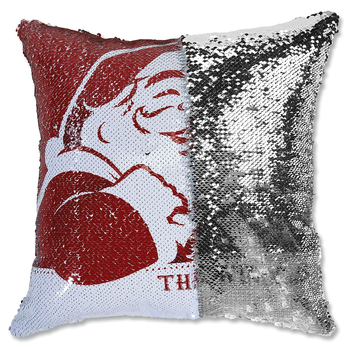 Sequined Santa's Face Pillow