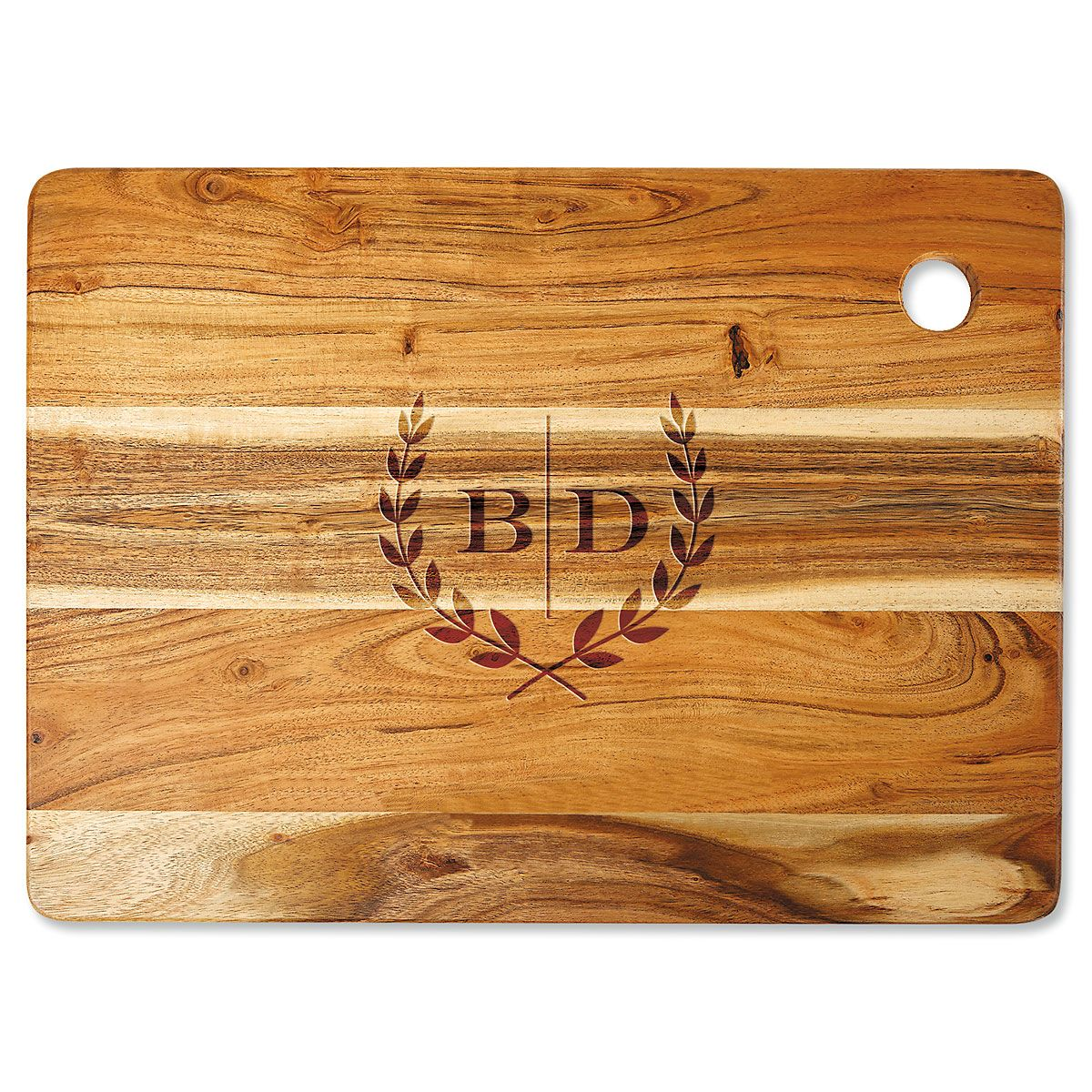 Acacia Laural Initials Personalized Cutting Board