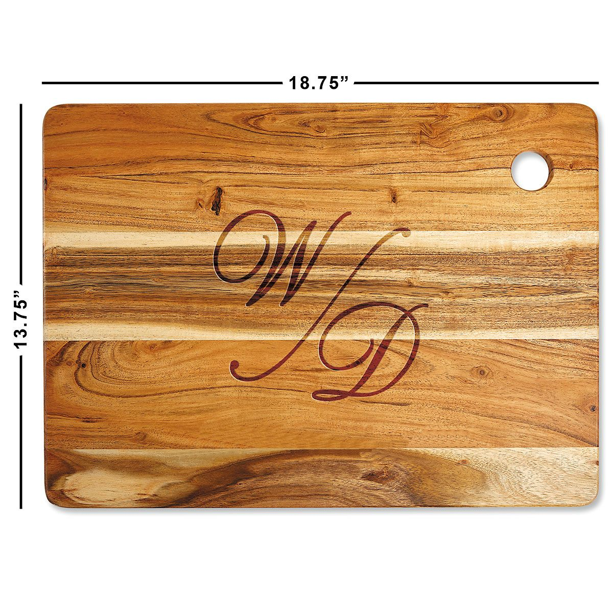 Acacia Stacked Script Personalized Large Cutting Board