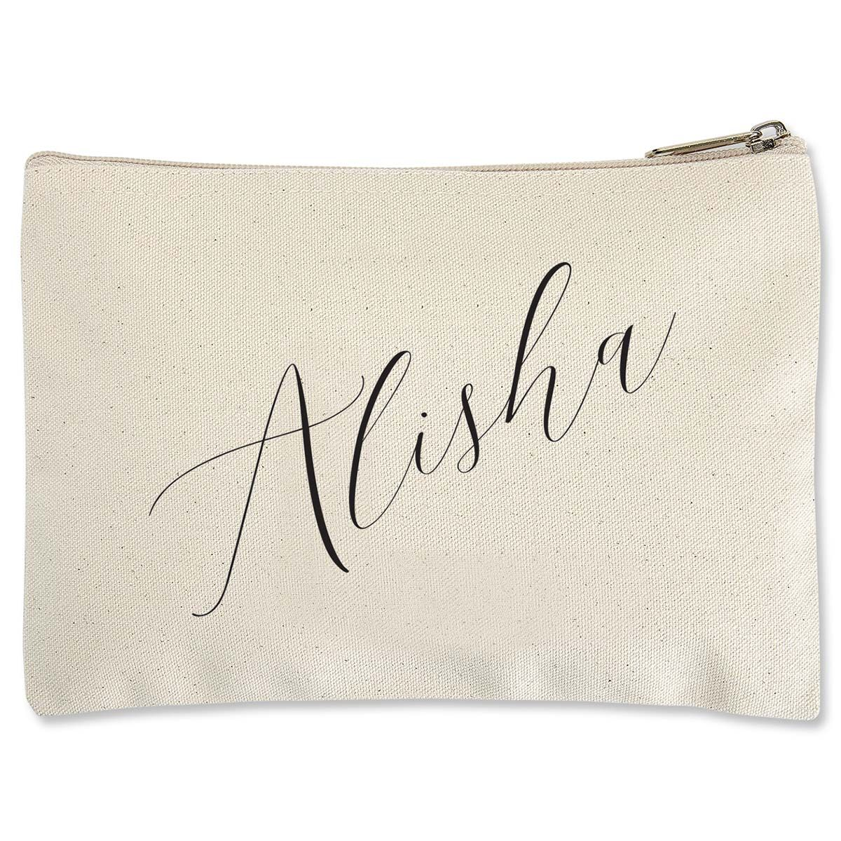 Diagonal Name Personalized Small Canvas Pouch