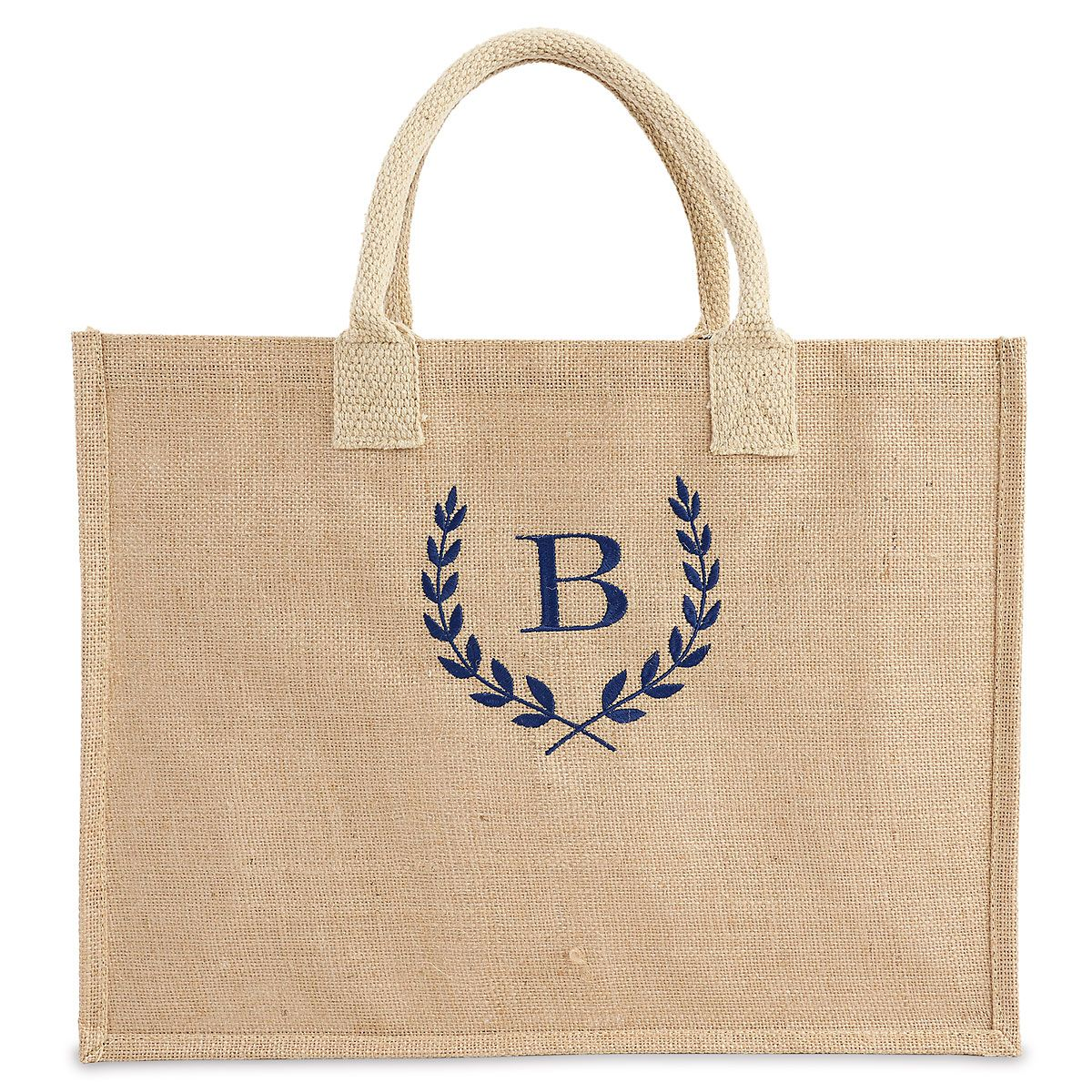 Personalized Large Jute Tote - Blue Thread