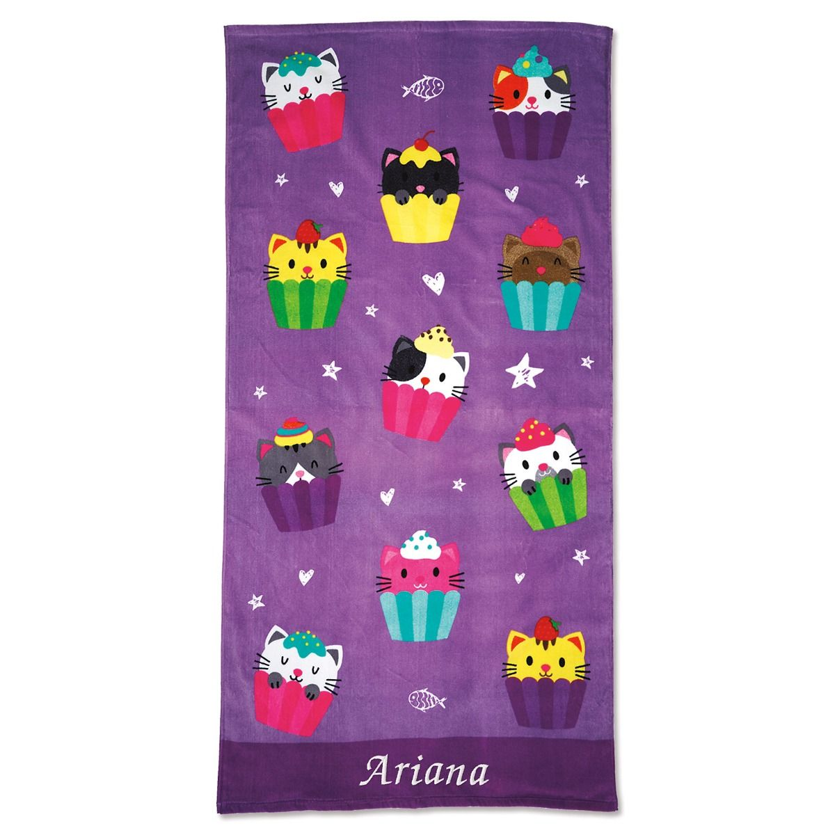 Personalized Kitten Cupcake Beach Towel