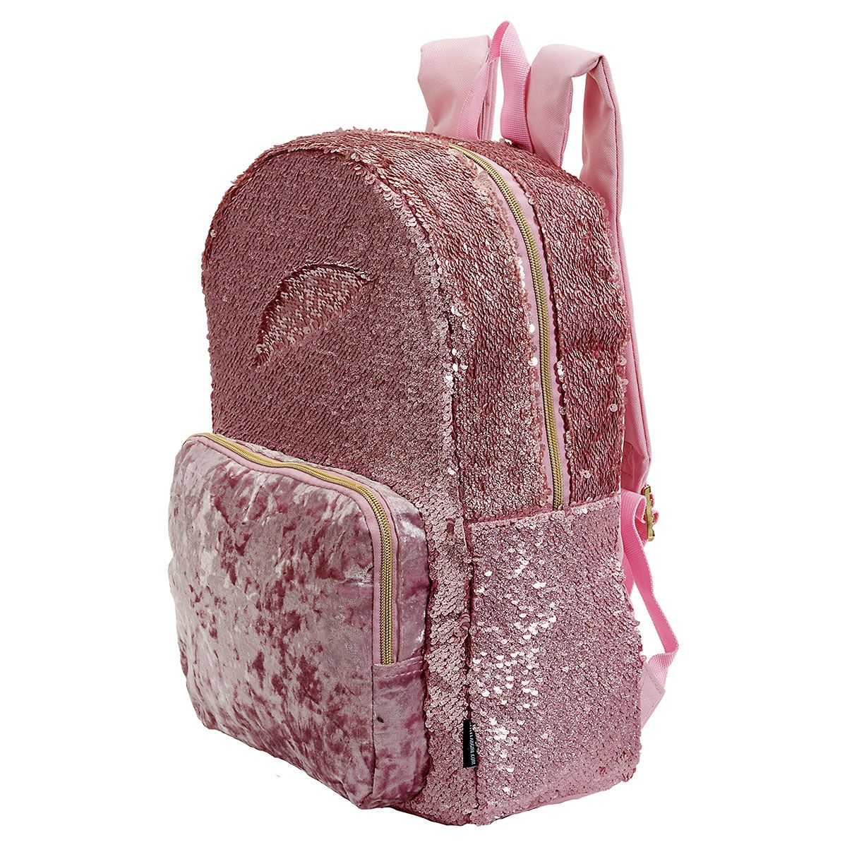 Personalized Pink Crushed Velvet & Sequin Backpack