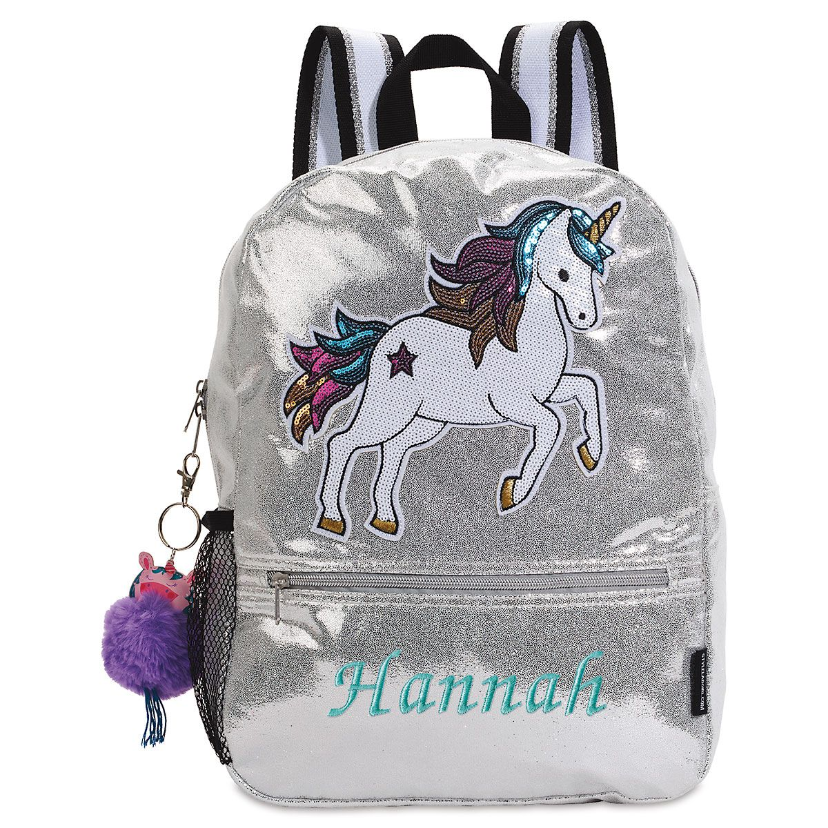 Personalized Unicorn Silver Shimmer Sequin Backpack