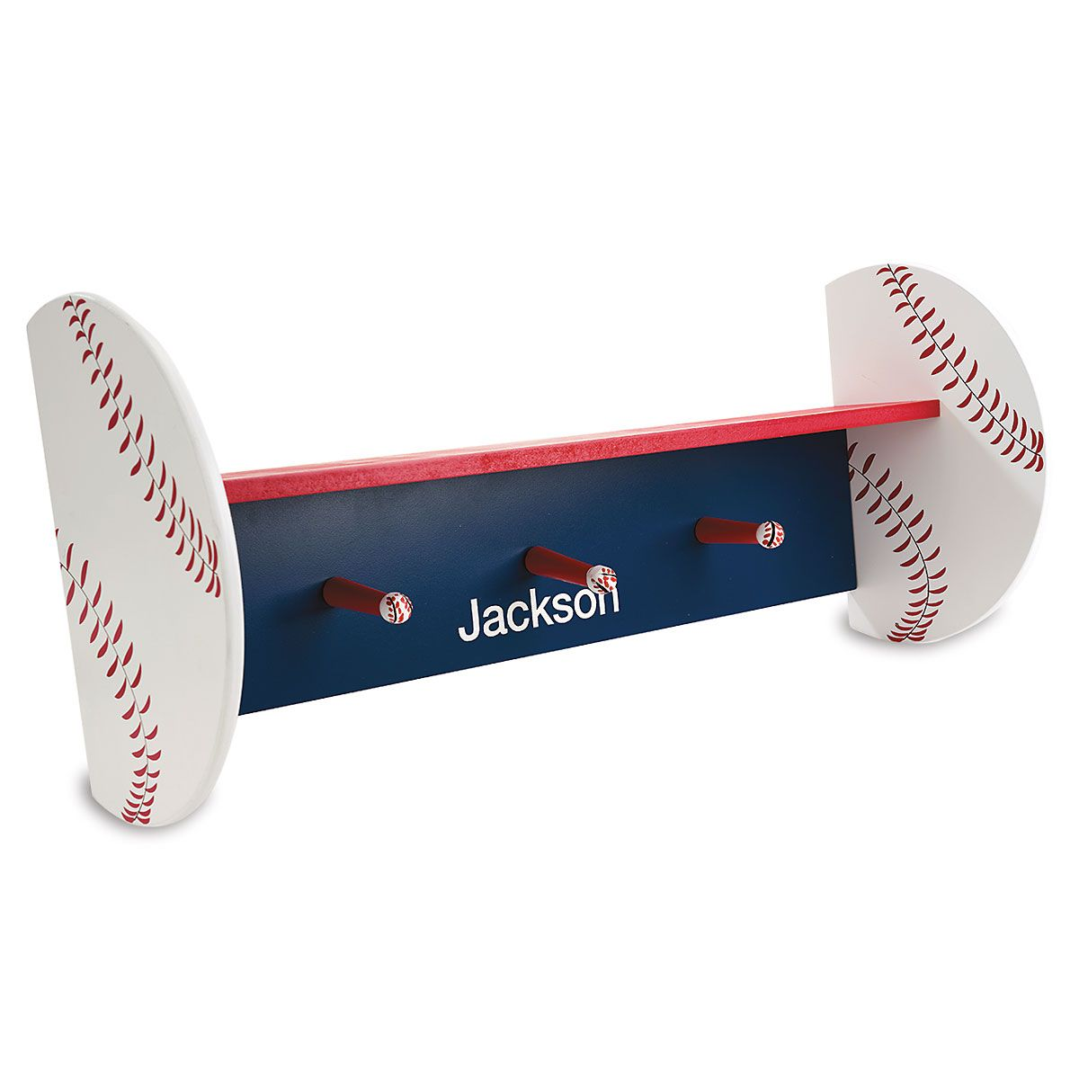 Personalized Baseball Shelf with Pegs