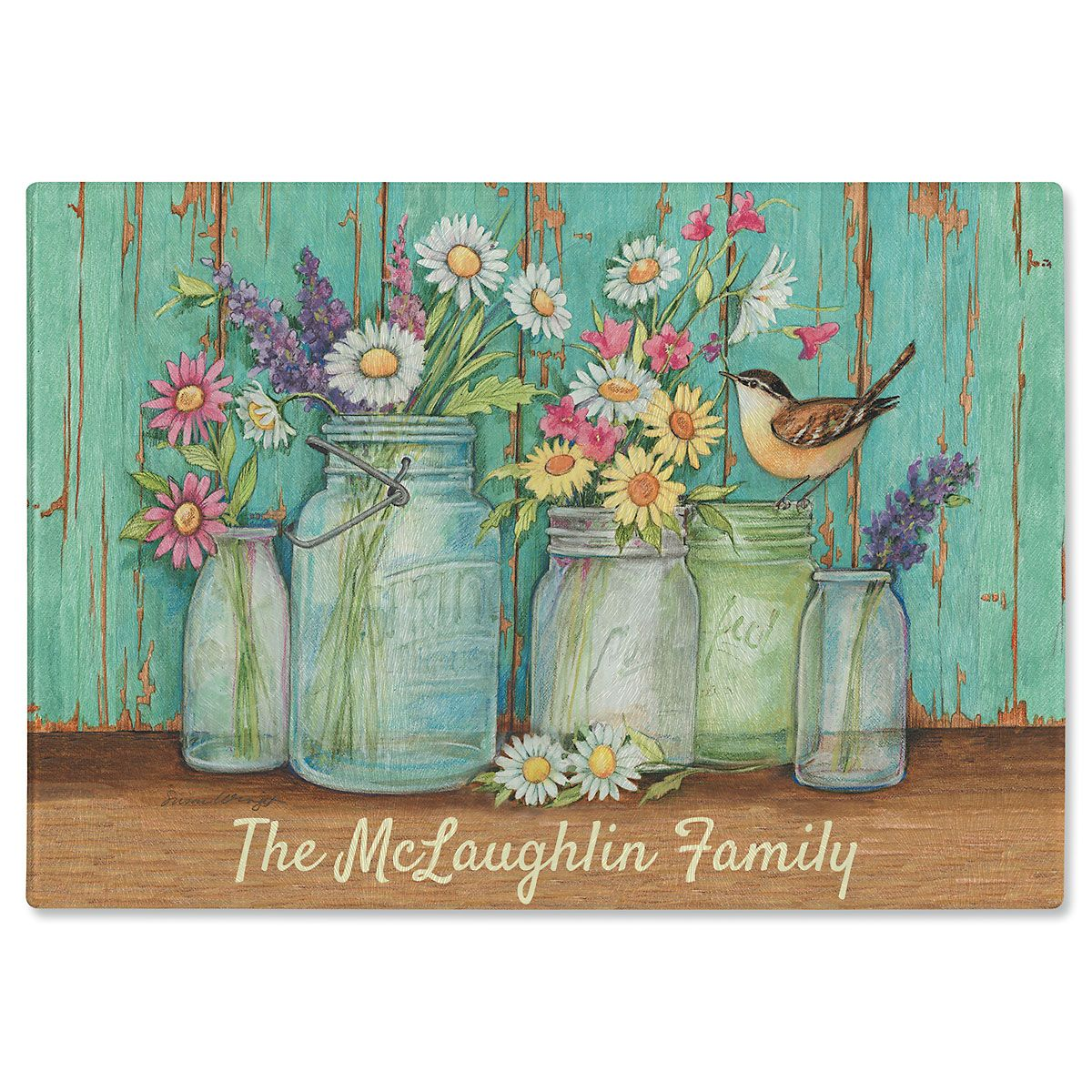 Flower Jars Personalized Glass Cutting Board By Susan Winget