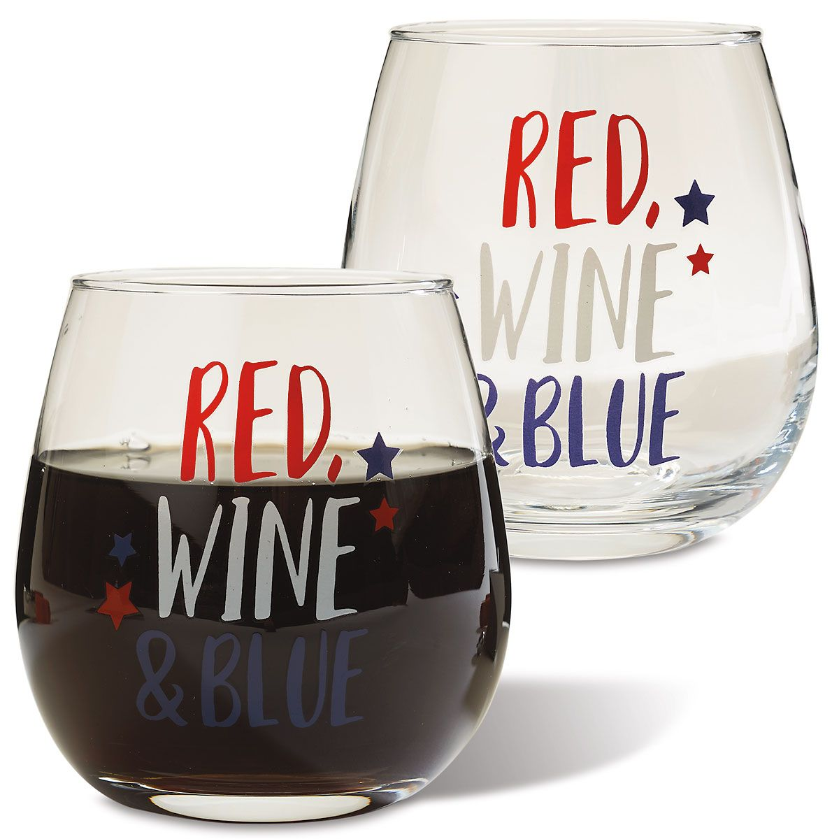 2 Patriotic Stemless Wine Glasses