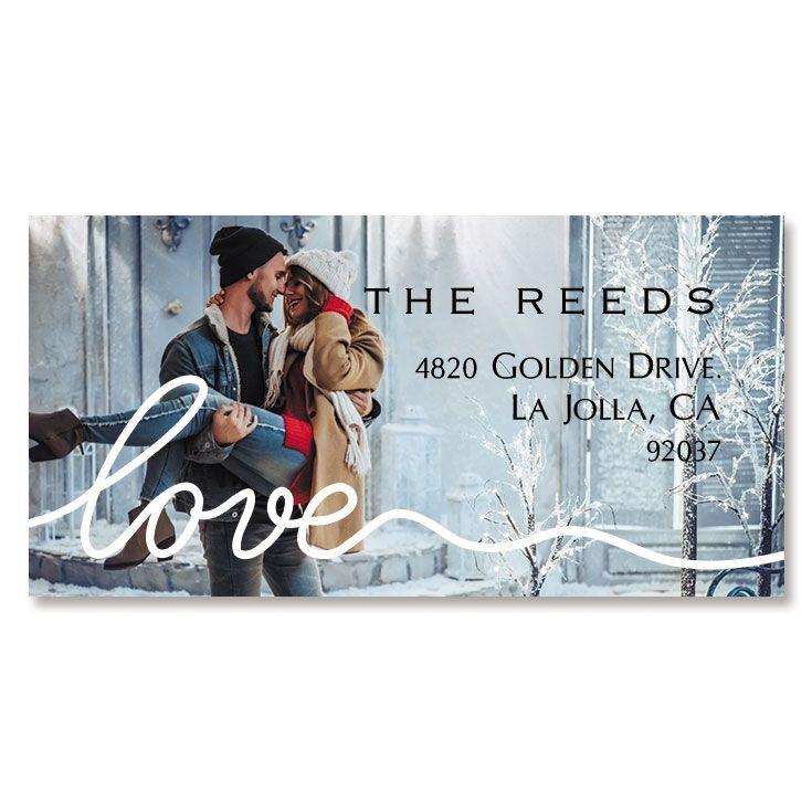 Personalized Love White Caption Border Photo Address Label