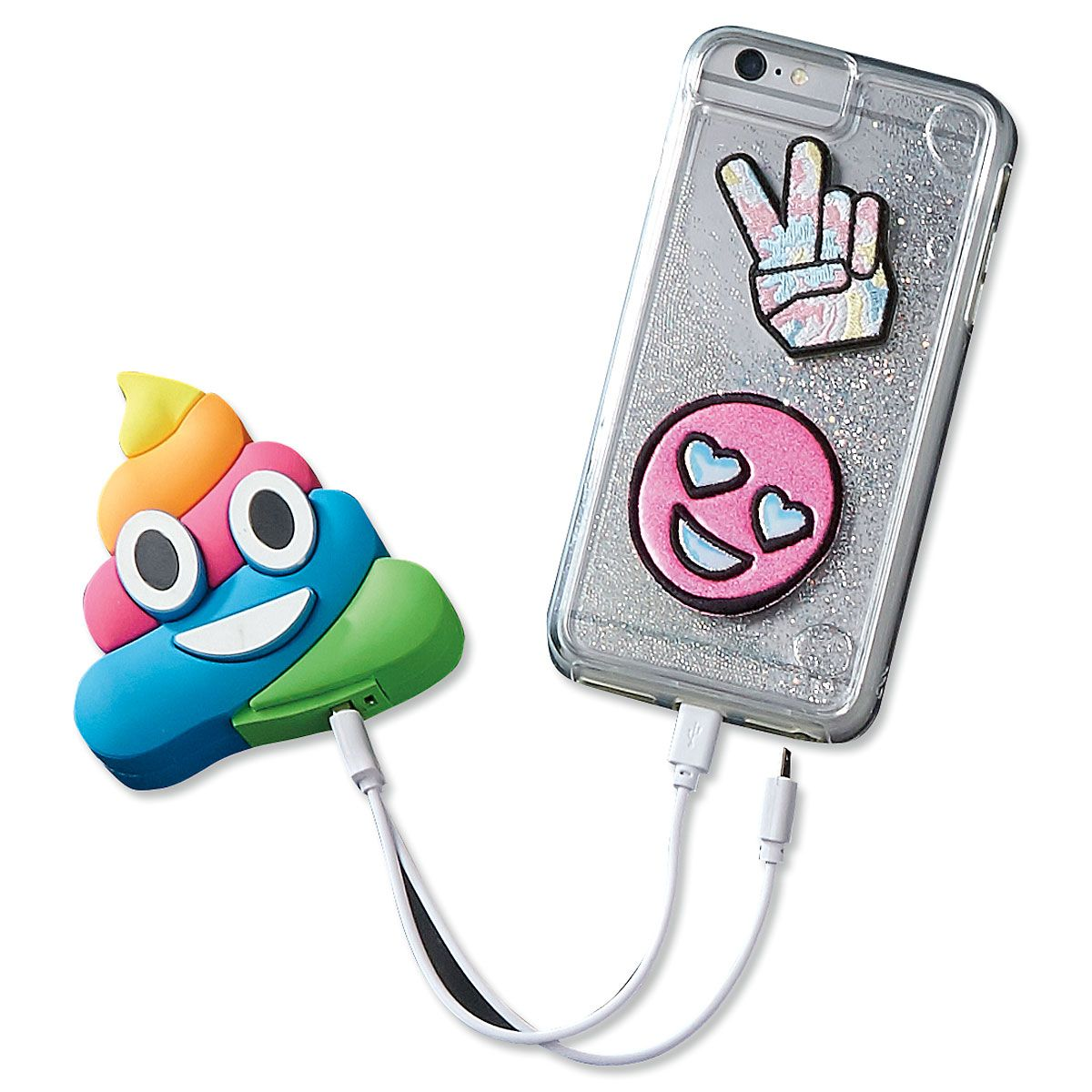 Rainbow Poop Emojicon Power Bank Phone Charger