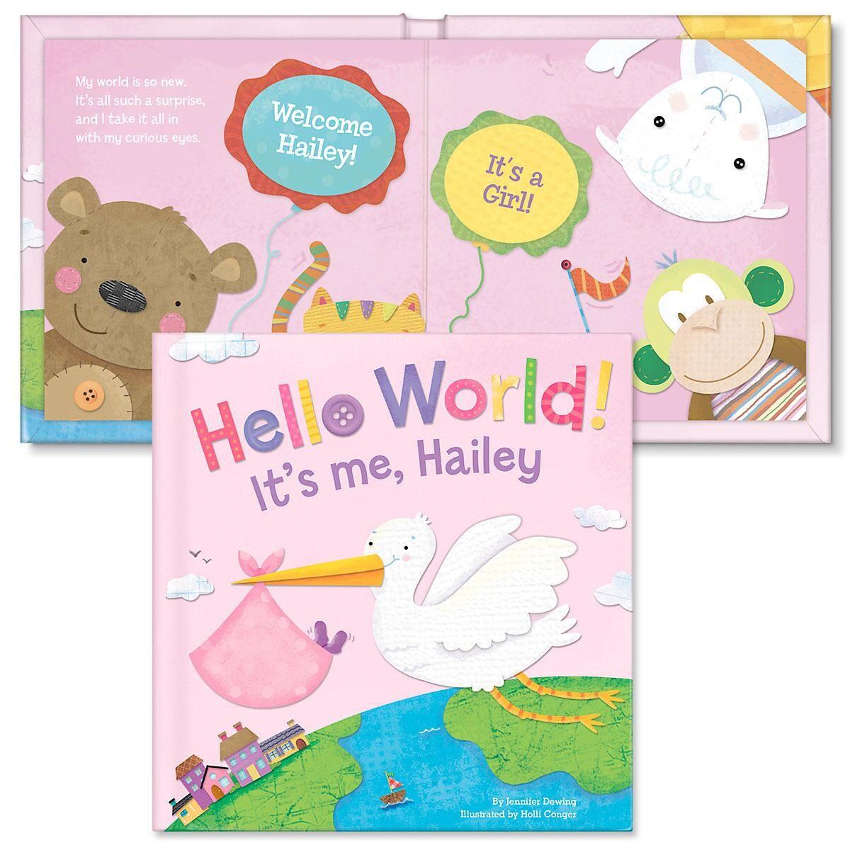 Hello World! Personalized Boardbook for Girls